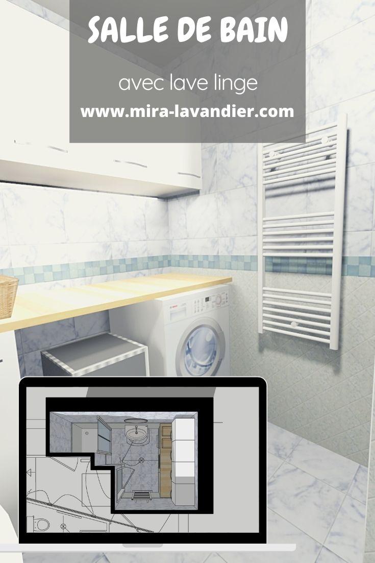 salle de bain avec machine à laver
