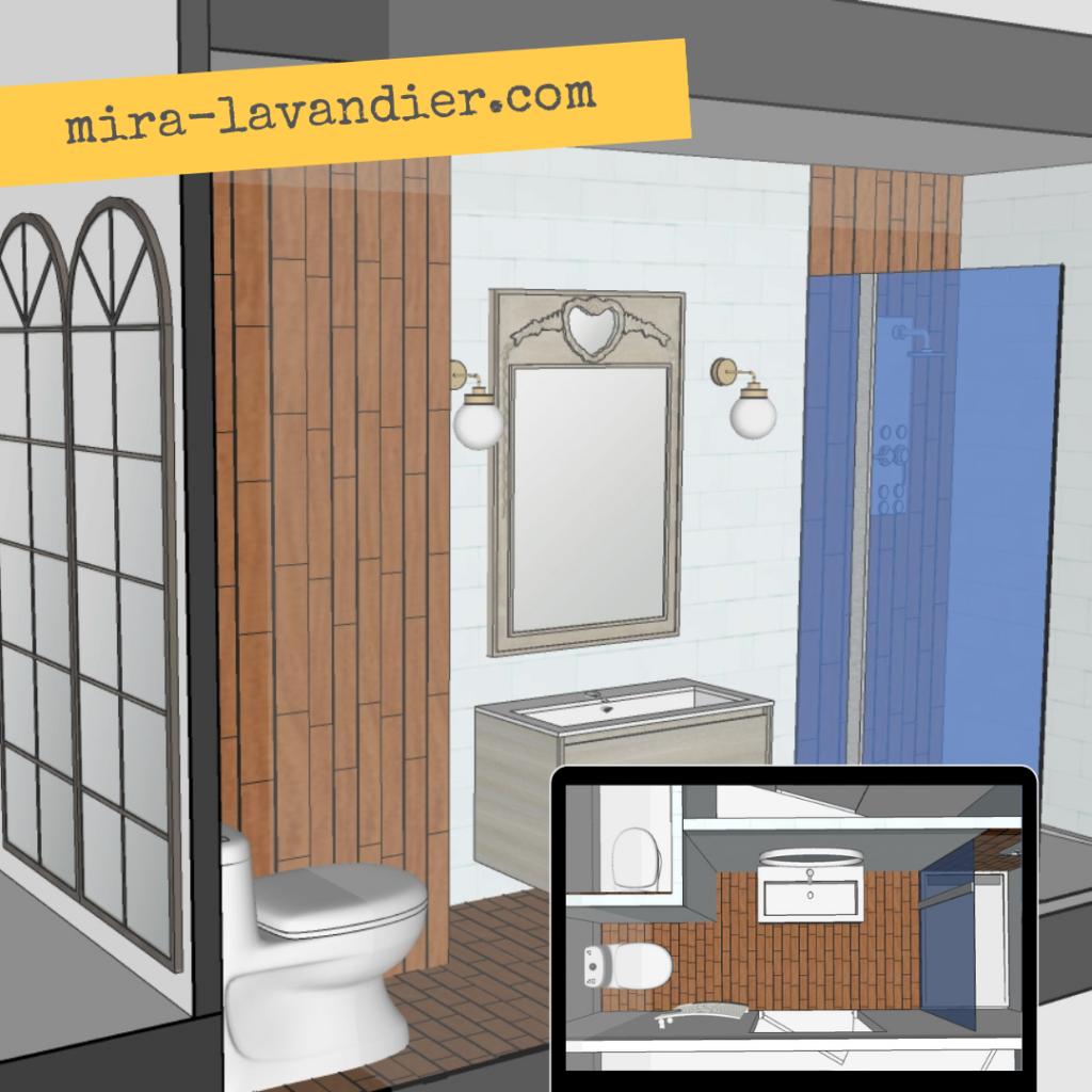 plan et 3D salle de bain 4m2