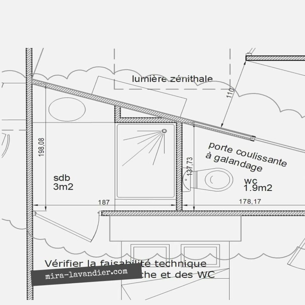 plan salle de douche 3m2