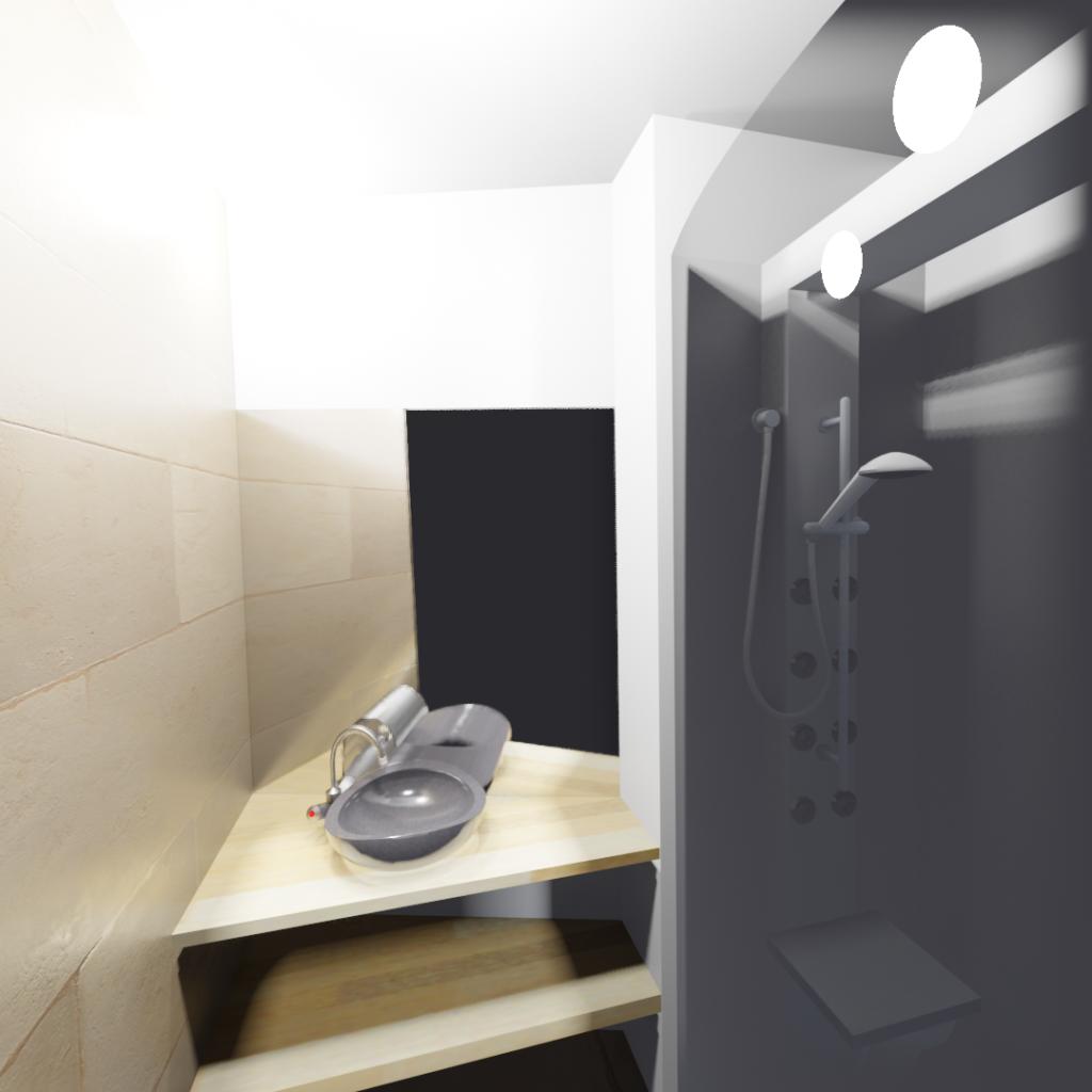 salle de douche 3m2 vasque pierre naturelle