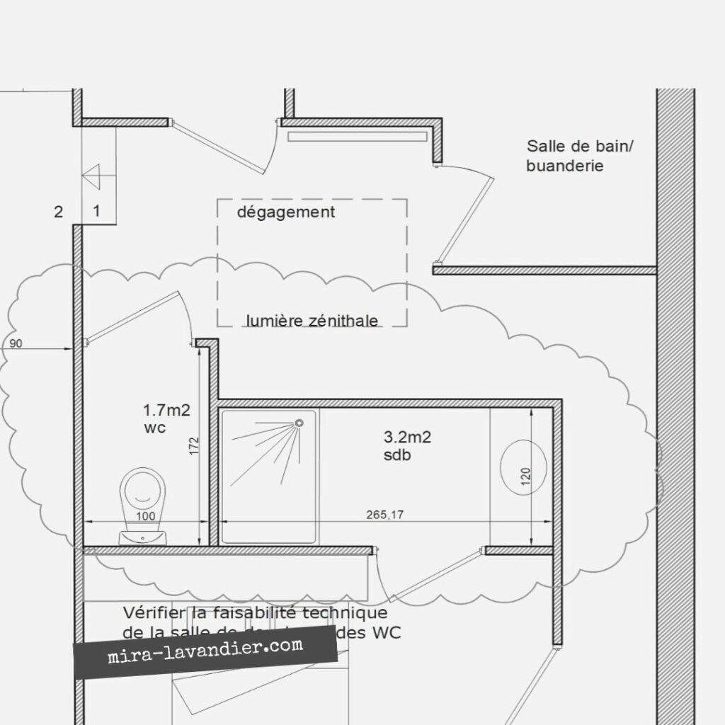 salle de douche 3m2 rectangulaire