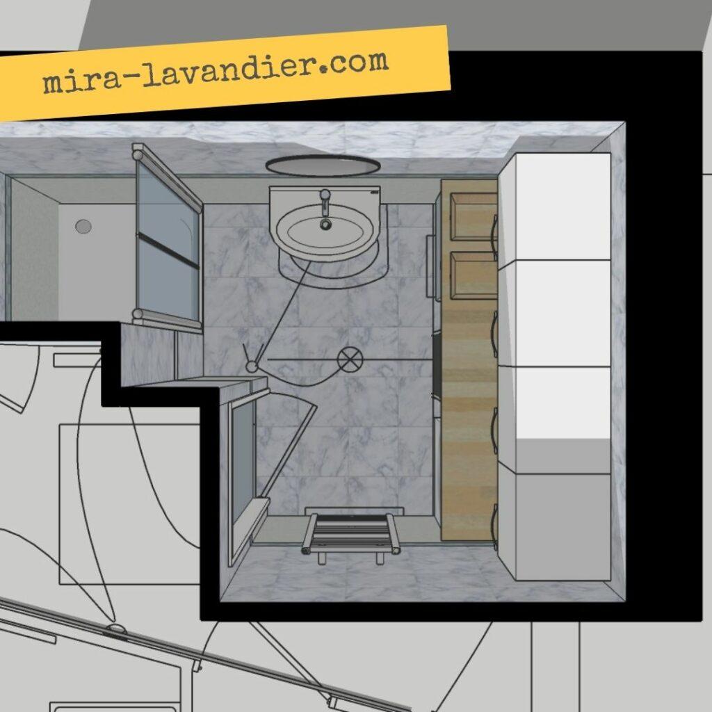 plan salle de bain avec machine à laver