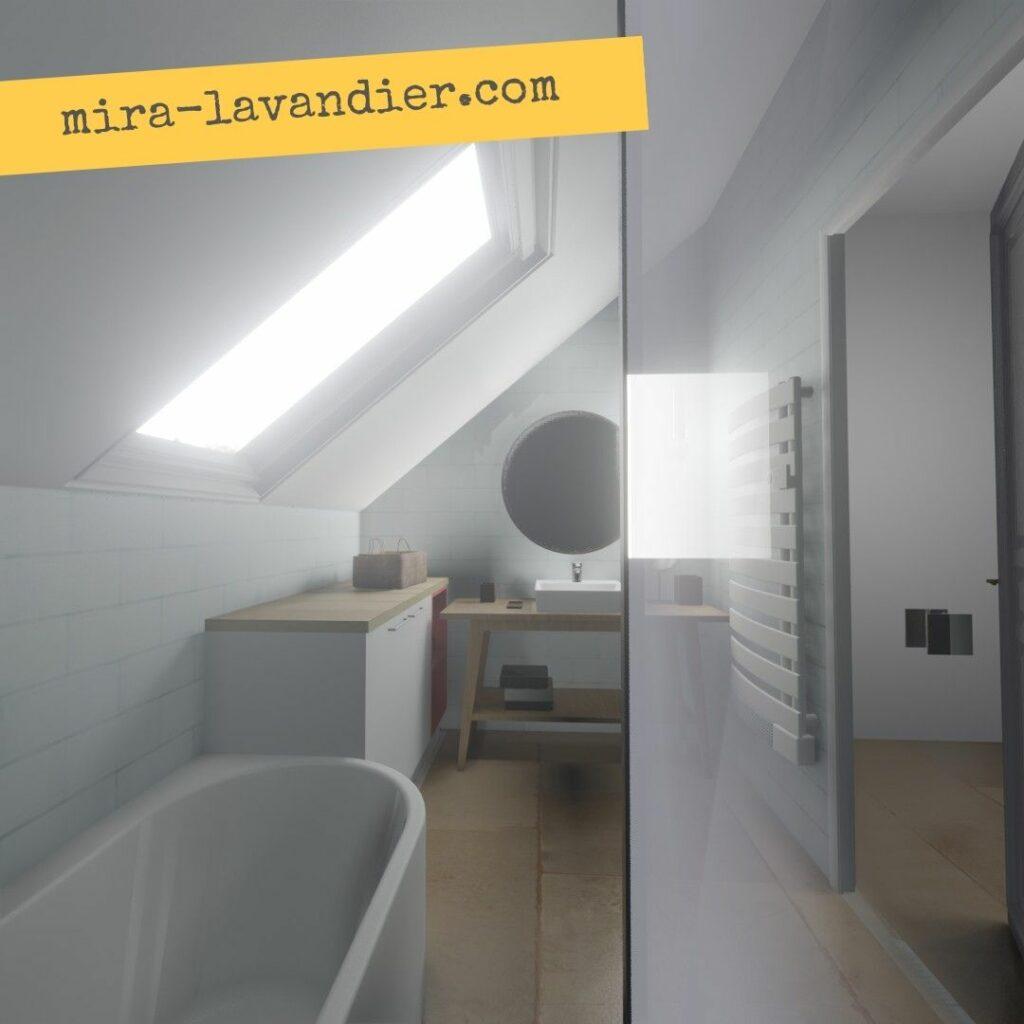 salle de bain mansardée style scandinave