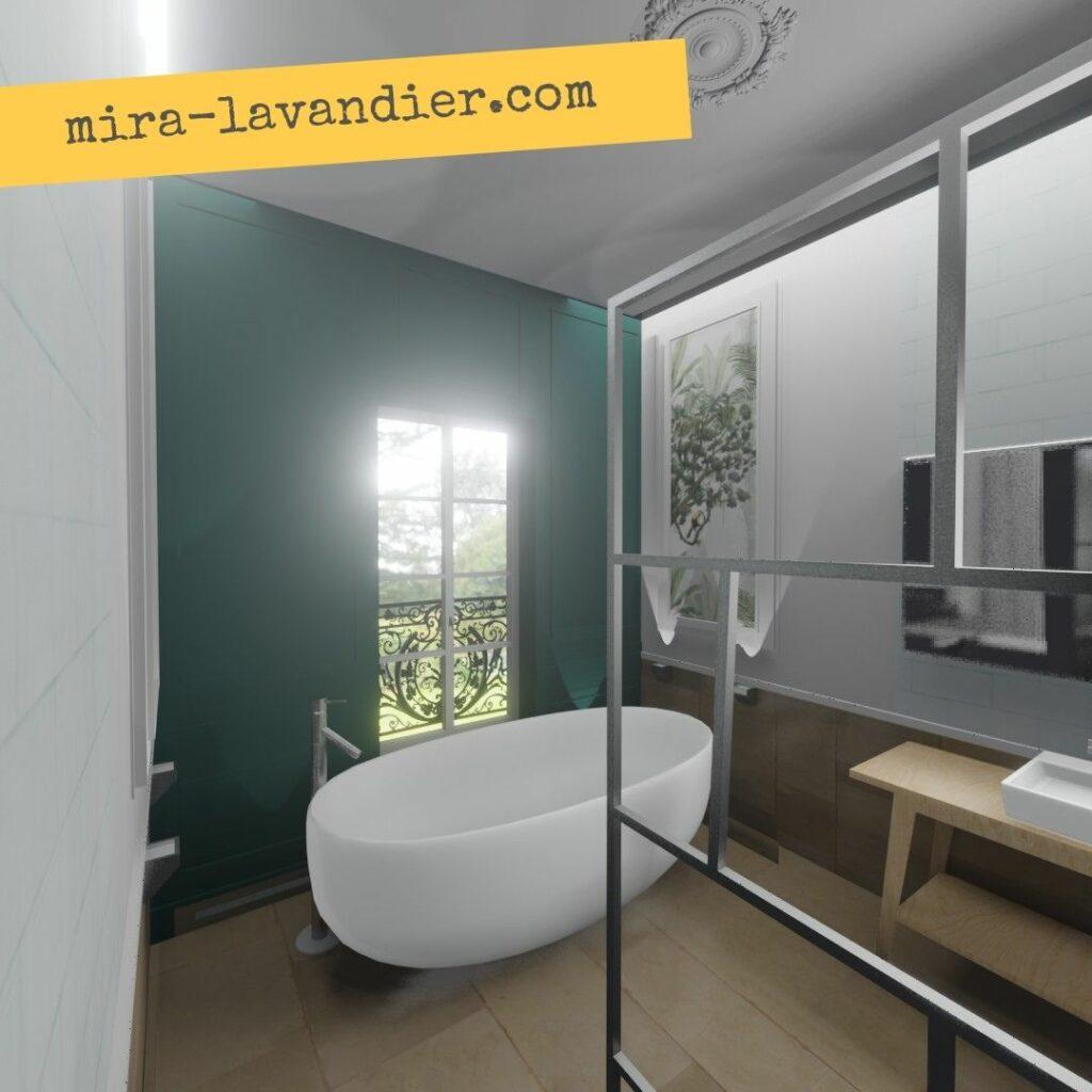 salle de bain avec baignoire îlot  en bleu canard
