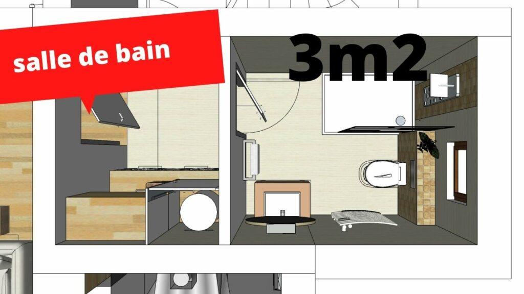 plan salle de bain 3m2